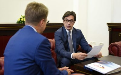 Meeting of the President of the Republic of North Macedonia, Stevo Pendarovski, with the Head of the Delegation of the European Union to the Republic of North Macedonia, Ambassador Samuel Zbogar