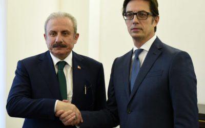 Претседателот Пендаровски го прими Претседателот на Големото национално собрание на Република Турција, Мустафа Шентоп