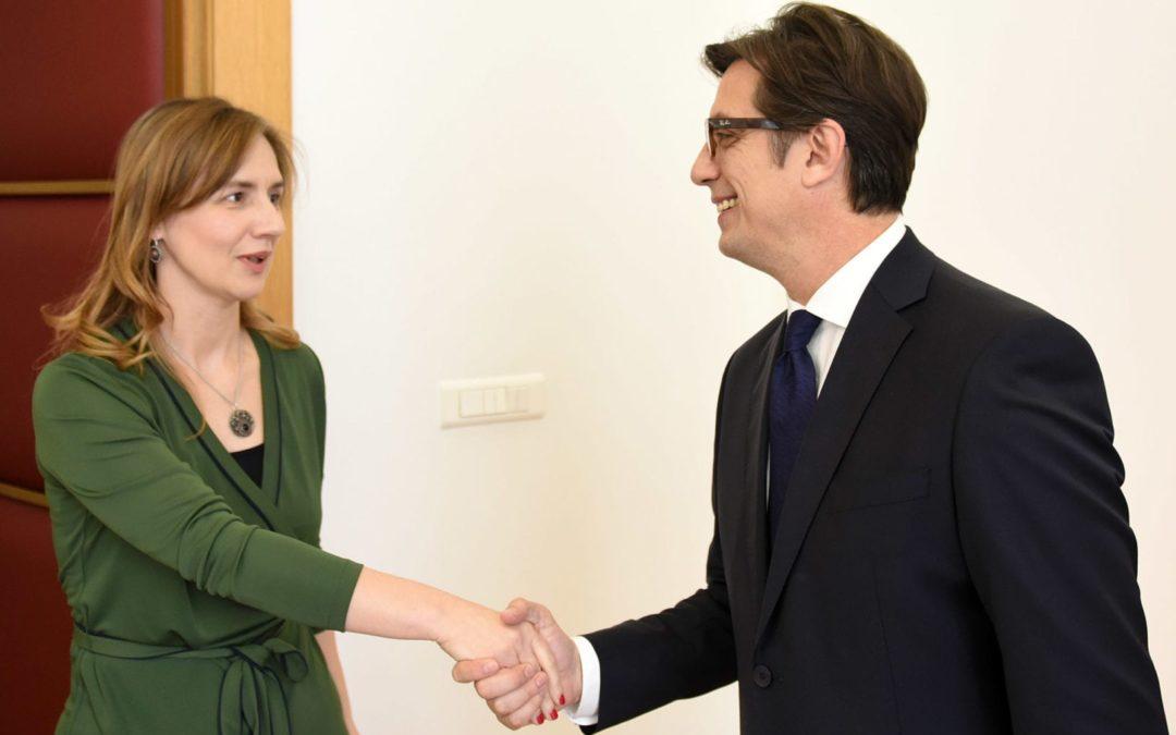 Претседателот Пендаровски ја прими Анита Ангеловска-Бежоска, гувернер на Народна банка на Република Северна Македонија