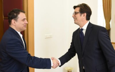 President Pendarovski receives the Romanian Ambassador, Viorel Stanila
