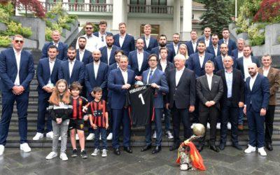 The President of the Republic of North Macedonia, Stevo Pendarovski, receives the European champions, the handball players of RK Vardar