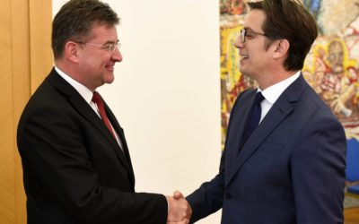 President Pendarovski receives the Minister of Foreign and European Affairs of the Slovak Republic and current OSCE Chairperson-in-Office, Miroslav Lajcak