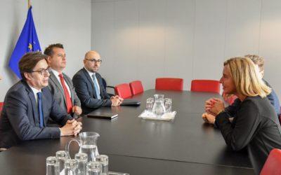 Претседателот Пендаровски на средба со заменик-претседателот на ЕК и висок претставник на ЕУ за надворешни работи и безбедносна политика, Федерика Могерини