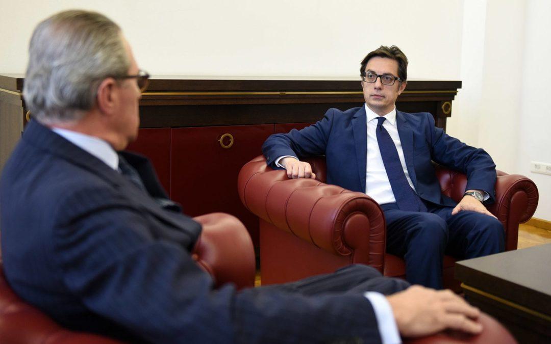 Средба на претседателот Пендаровски со шефот на мисијата на ОБСЕ во Скопје, Клеменс Која