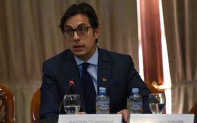 """Fjalimi i Presidentit Pendarovski në panelin – diskutues me temë """"Depolarizimin e diskursit publik: kriteri maqedonas """"padukshëm"""" për anëtarësimin në BE"""""""