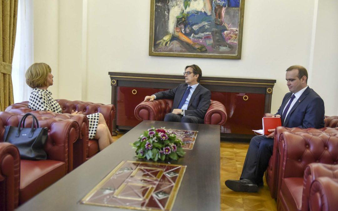 President Pendarovski receives the President of the political party Glas za Makedonija, Solza Grcheva
