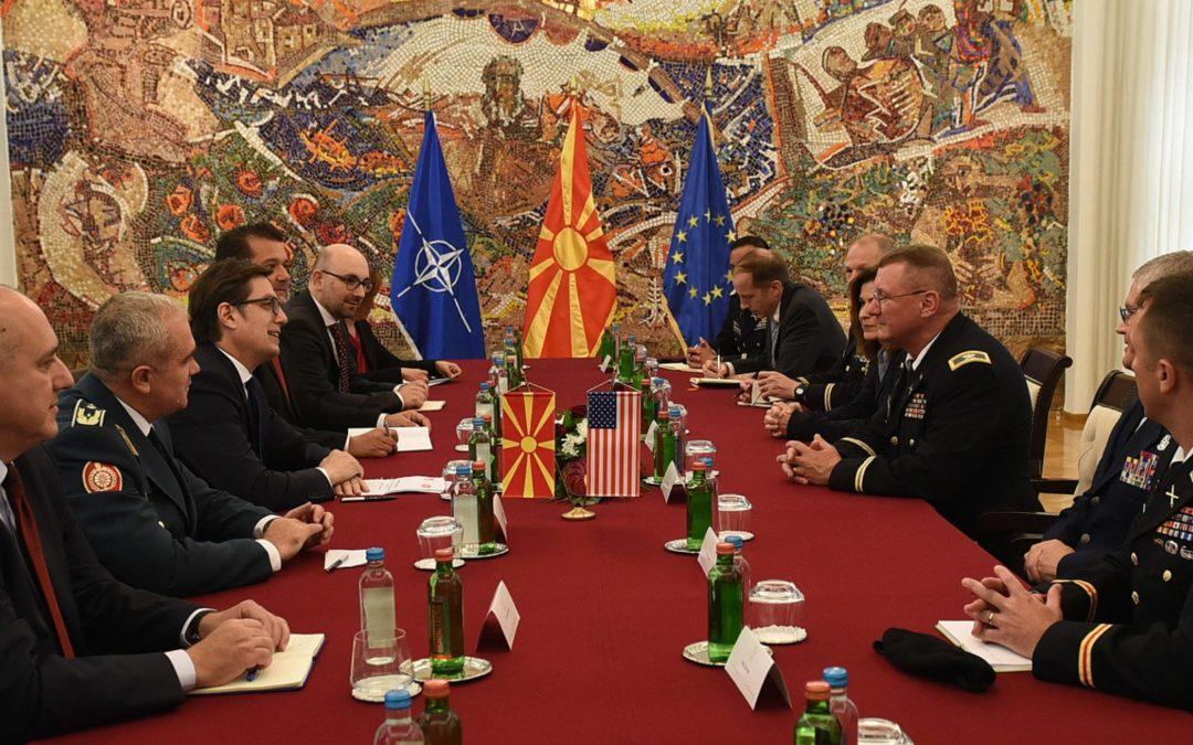 President Pendarovski receives a delegation from Vermont National Guard