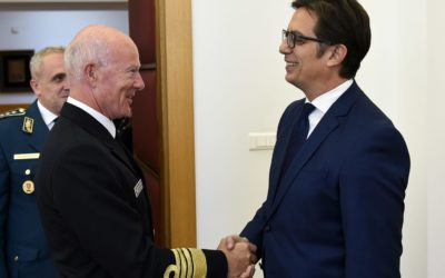 Претседателот Пендаровски го прими Началникот на Генералштабот на норвешките вооружени сили, адмирал Хакон Брун-Хансен
