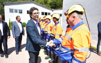 Претседателот Пендаровски на Денот на рударите во посета на Македонска Kаменица и на рудникот Саса