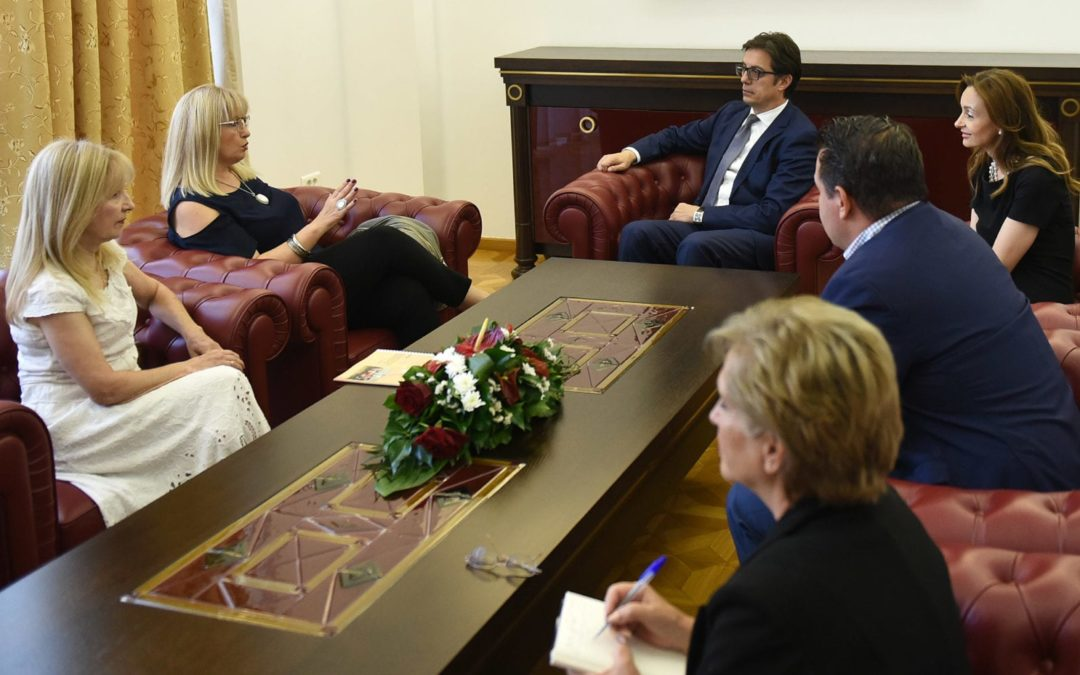 """President Pendarovski meets with representatives of the International Inclusive Drama Festival """"Games without Masks 2019"""""""