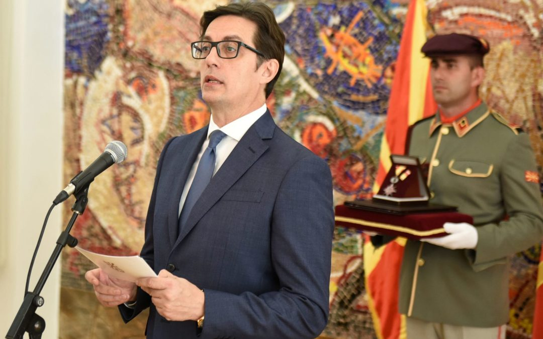 "President Pendarovski decorates 8 firefighters with ""Medal of Bravery"" and awards ""Charter of the Republic of North Macedonia"" to the Territorial Firefighting Brigade of the City of Skopje"