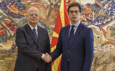 President Pendarovski receives the credentials of the newly appointed Ambassador of the Hellenic Republic to the Republic of North Macedonia