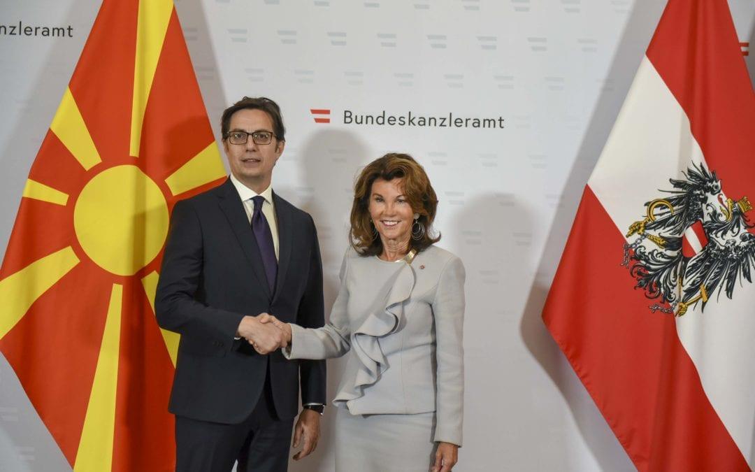 Средба на претседателот Пендаровски со австриската сојузна канцеларка Бригит Биерлејн