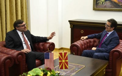 Средба на претседателот Пендаровски со Метју Палмер, специјален претставник на државниот секретар на САД за Западен Балкан