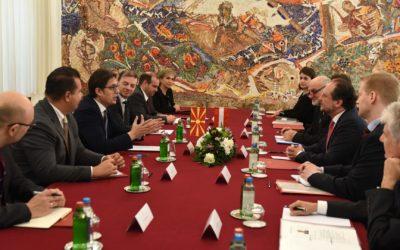 Средба на претседателот Пендаровски со Александер Шаленберг, сојузен министер за Европа, интеграција и надворешни работи на Република Австрија