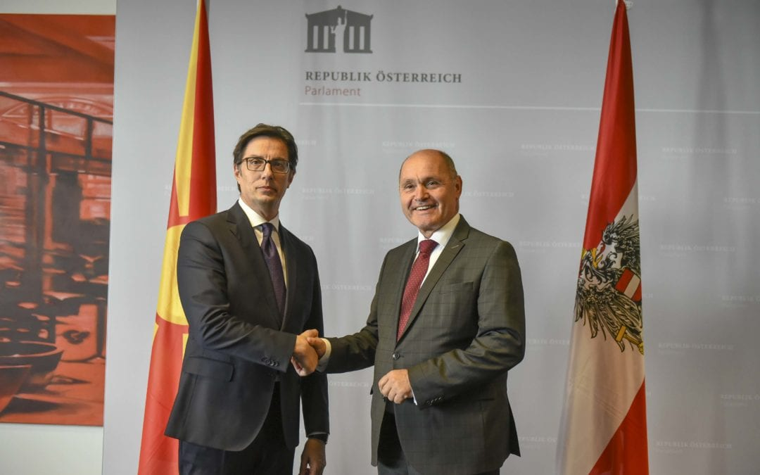 Средба на претседателот Пендаровски со претседателот на Националниот совет на Република Австрија, Волфганг Соботка