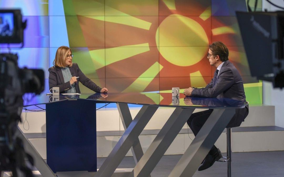 """Интервју на претседателот Пендаровски за емисијата """"Топ Тема"""" на Телевизија Телма"""
