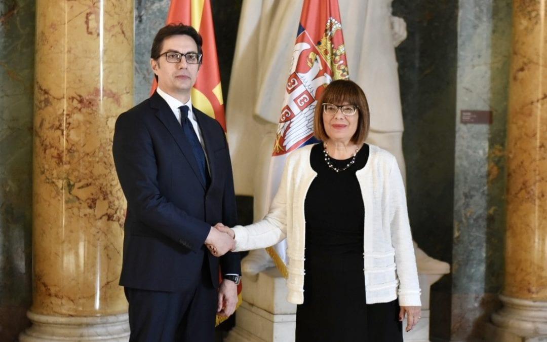 Takimi i presidentit Stevo Pendarovski me kryetaren e Kuvendit Popullor të Republikës së Serbisë, Maja Gojkoviq