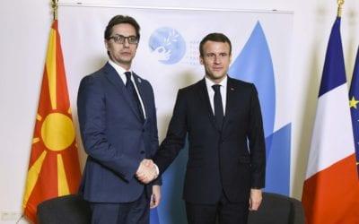 Средба на претседателот Стево Пендаровски со претседателот на Француската Република Емануел Макрон
