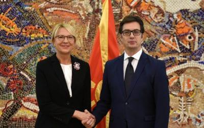 Претседателот Пендаровски ги прими акредитивните писма на новоименуваните амбасадори на Р. Латвија, Големото Војводство Луксембург и Р.Ирска