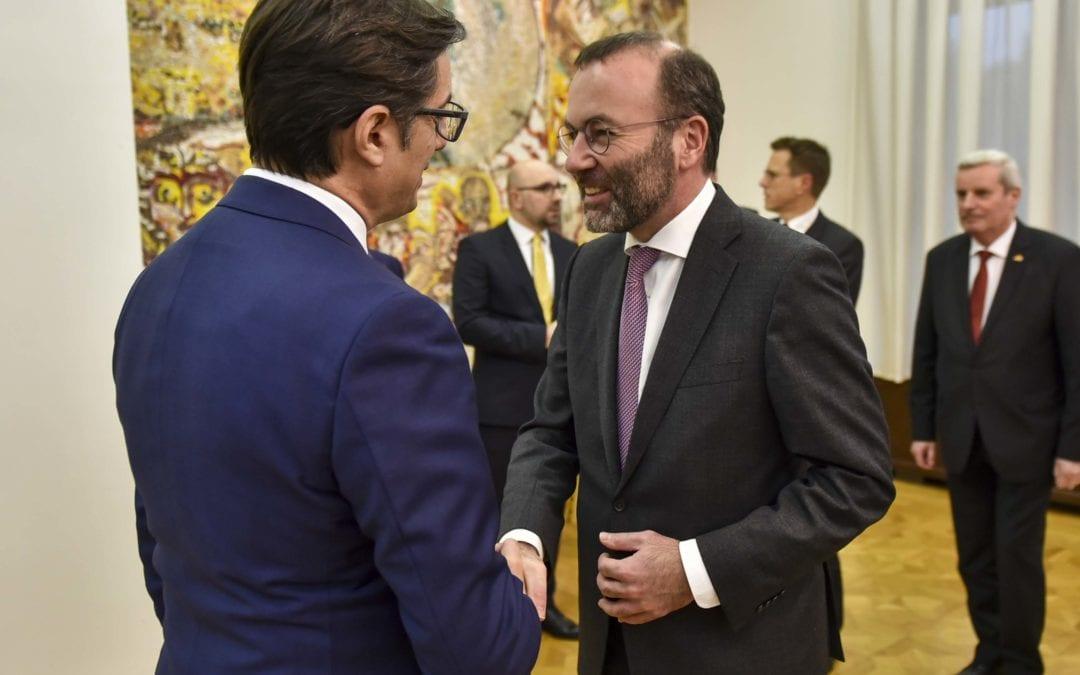 President Pendarovski meets MEP Manfred Weber