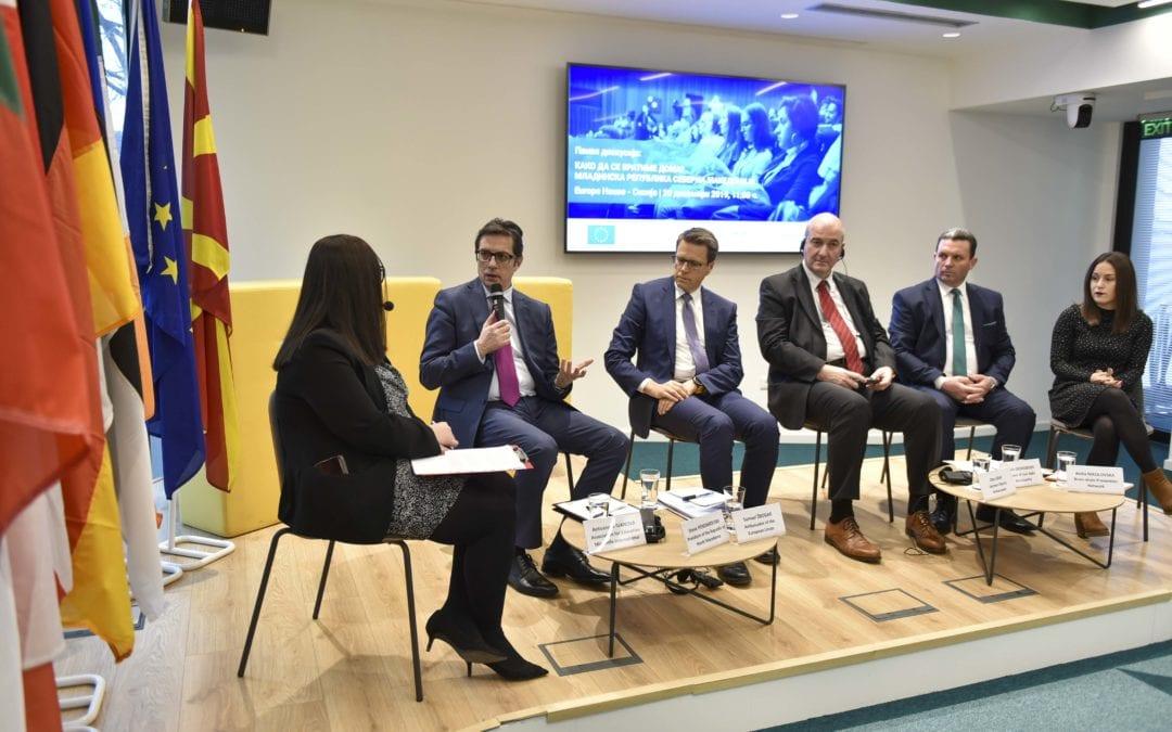 """Претседателот Пендаровски од дискусијата """"Како да се вратиме дома? Младинска Република Северна Македонија"""": Сите треба да им се извиниме на граѓаните бидејќи не направивме доволно, барем да ги ублажиме последиците од иселувањето на младите"""