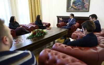 Средба на претседателот Пендаровски со претставници на Мрежата за спречување на одлив на мозоци