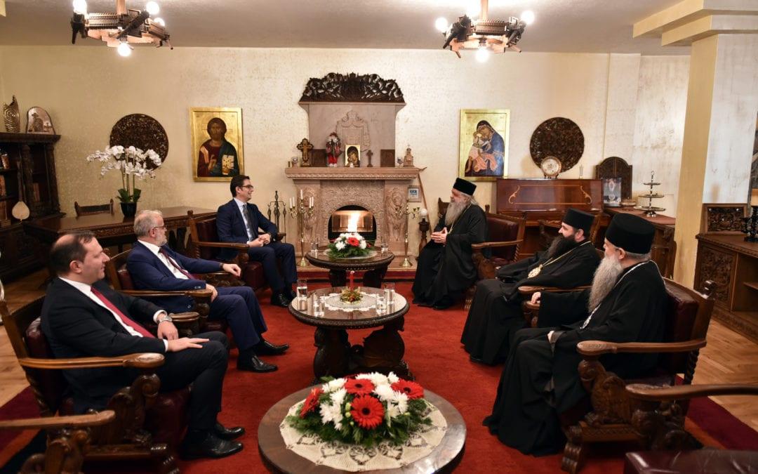 Претседателот Пендаровски на божикен ручек кај поглаварот на Македонската православна црква – Охридска архиепископија, г.г. Стефан