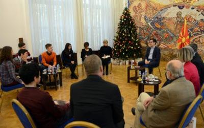 Средба на претседателот Пендаровски со учениците, добитници на медали на олимпијадата во Доха