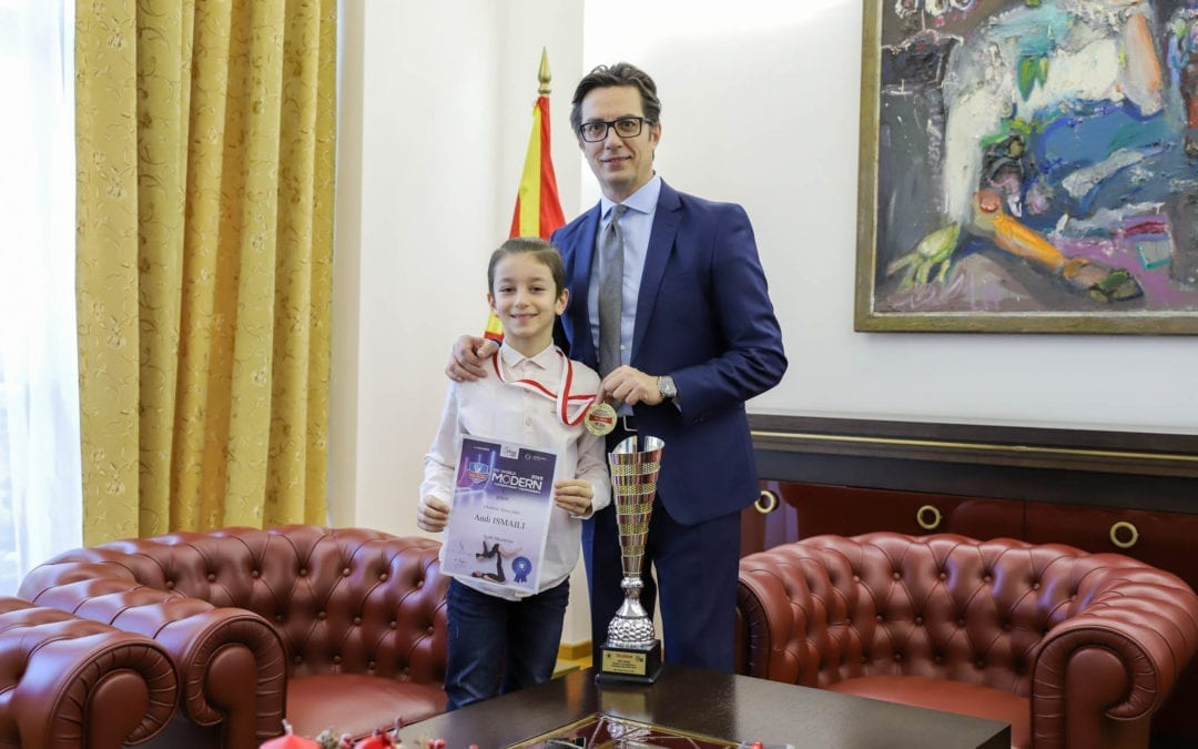 President Pendarovski meets with the world champion in modern dance, Andi Ismaili