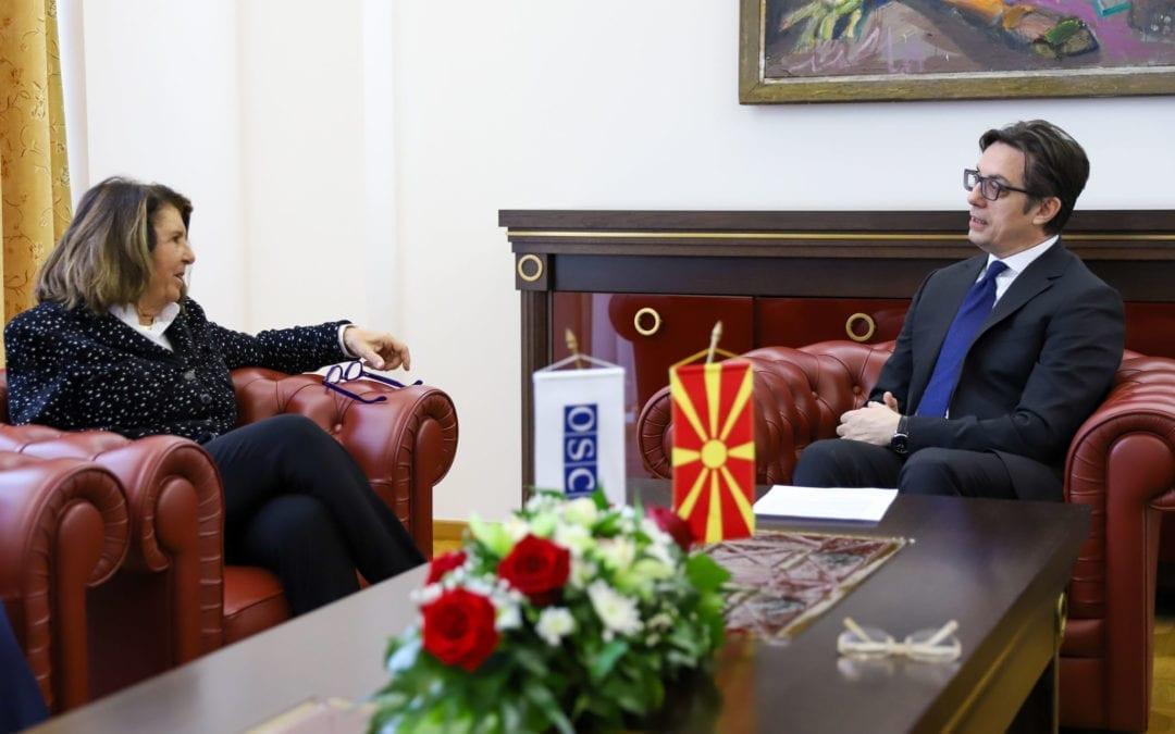 Средба на претседателот Пендаровски со Паола Северино, Специјален претставник на Претседавачот на ОБСЕ за борба против корупцијата