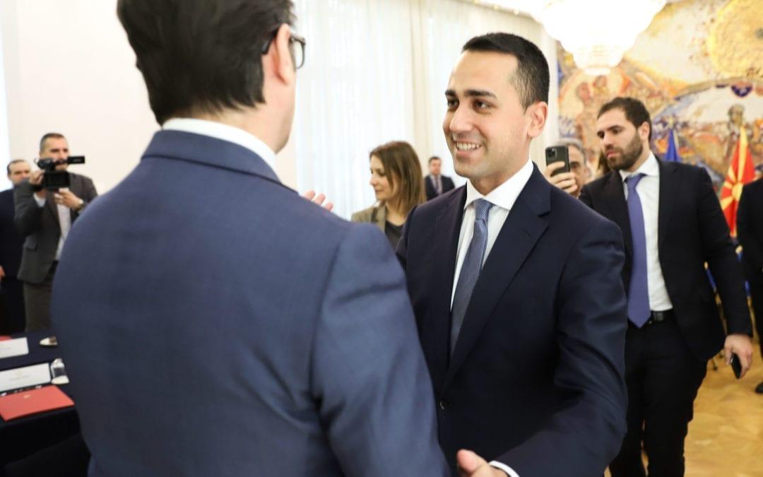 Средба на претседателот Пендаровски со Ди Мајо, министер за надворешни работи на Италија