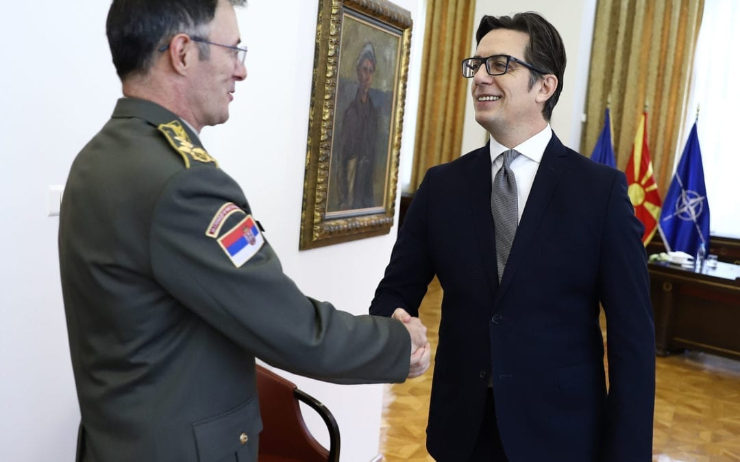 Средба на претседателот Пендаровски со Началникот на Генералштабот на Војската на Србија, генерал Милан Мојсиловиќ