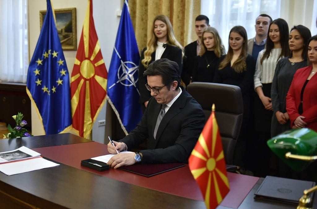 President Pendarovski signs the Decree for proclamation of the Law on Ratification of North Atlantic Treaty