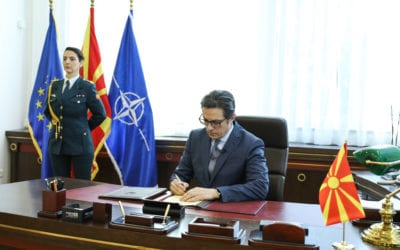 President Pendarovski signs the Instrument of Accession of the Republic of North Macedonia to NATO