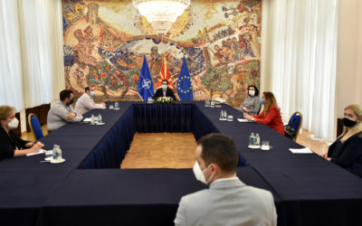 """President Pendarovski meets the candidates in the public call for admission of the 7th generation of students at the Academy for Judges and Public Prosecutors """"Pavel Shatev"""" – Skopje"""