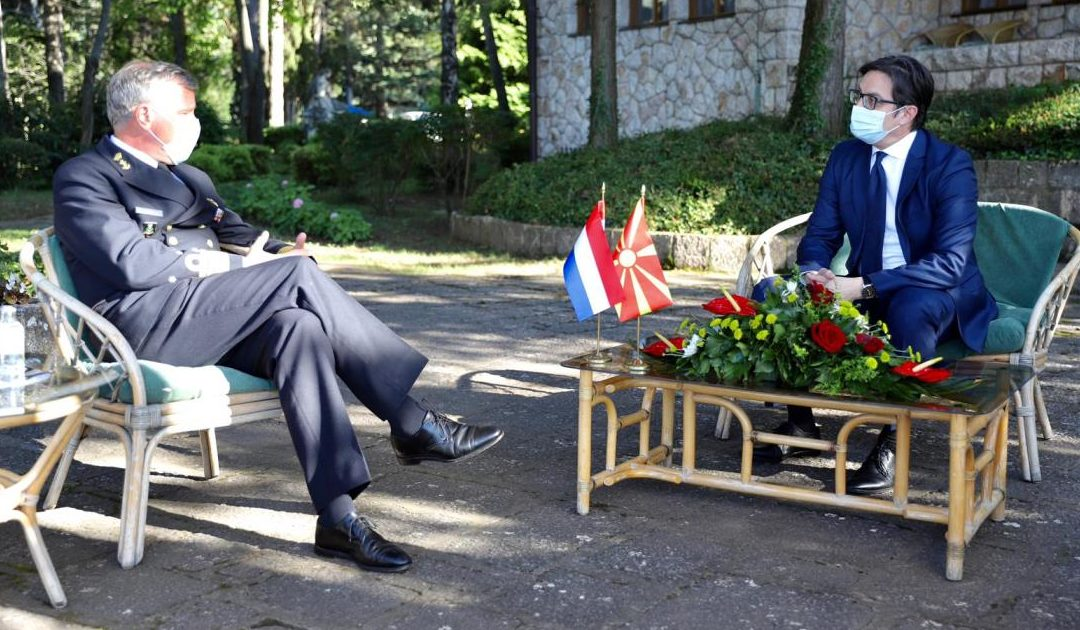 President Pendarovski meets with the Chief of General Staff of the Armed Forces of the Kingdom of the Netherlands, Admiral Robert Bauer