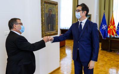 Takim lamtumire i Presidentit Pendarovski me ambasadorin francez Timonie
