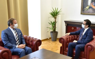 Проштална средба на претседателот Пендаровски со италијанскиот амбасадор Карло Ромео