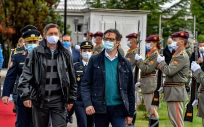 Presidents Pendarovski and Pahor attend a demonstration exercise at the Water Training Camp of the Army of the Republic of North Macedonia