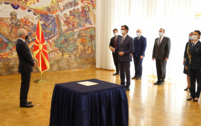 Претседателот Пендаровски ги прими акредитивните писма на новоименуваниот амбасадор на Република Словенија, Милан Предан