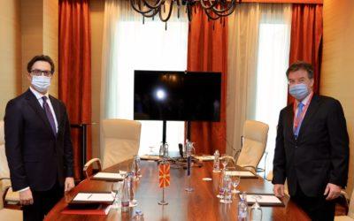 President Pendarovski meets with Miroslav Lajcak, EU Special Representative for the Belgrade-Pristina Dialogue and Other Western Balkans Regional Issues