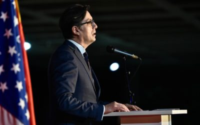 President Pendarovski addresses the celebration marking the 15th anniversary of the founding of the University American College Skopje