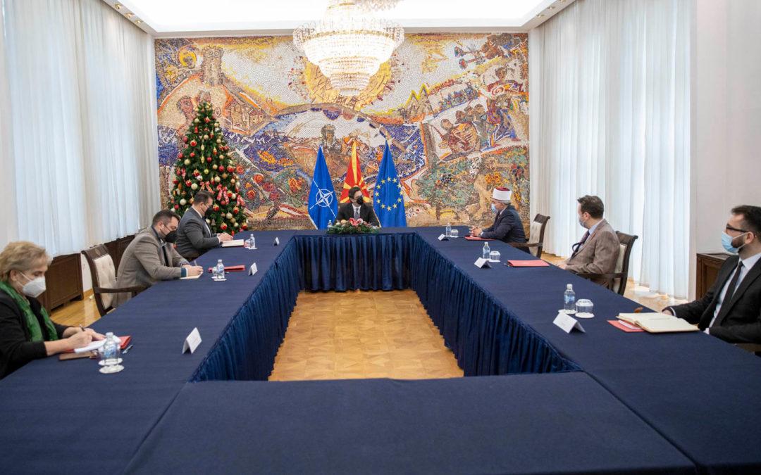Takimi i Presidentit Pendarovski me kryetarin e BFI-së, H. Hfz. Shaqir ef. Fetai