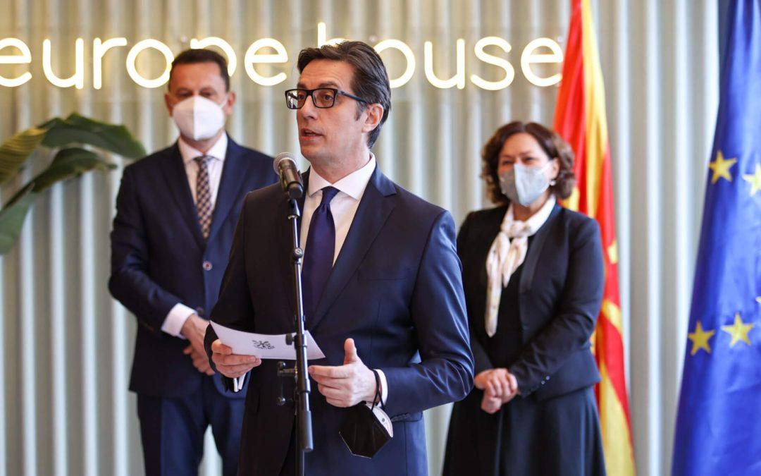 "President Pendarovski addresses the opening of the ""Europe House"" in Kriva Palanka"