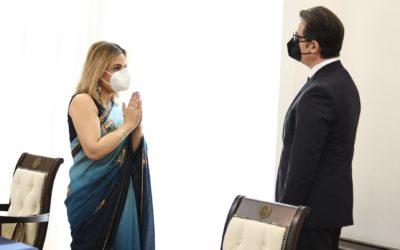 Проштална средба на претседателот Пендаровски со амбасадорката на Индија Пуџа Капур