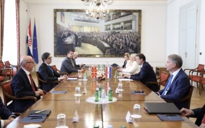 President Pendarovski meets with the Speaker of the Parliament of the Republic of Croatia, Jandrokovic
