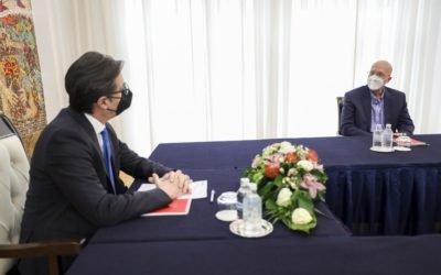 Средба на претседателот Пендаровски со Рик Хатавеј, потпретседател на Хабитат за Европа, Среден Исток и Африка