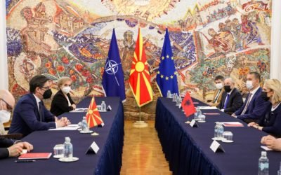 Средба на претседателот Пендаровски со Мими Кодели, претседателка на Комисијата за надворешна политика во Парламентот на Албанија
