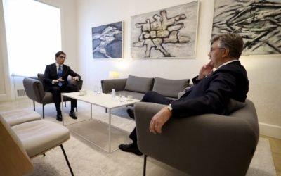 Средба на претседателот Пендаровски со хрватскиот премиер Пленковиќ